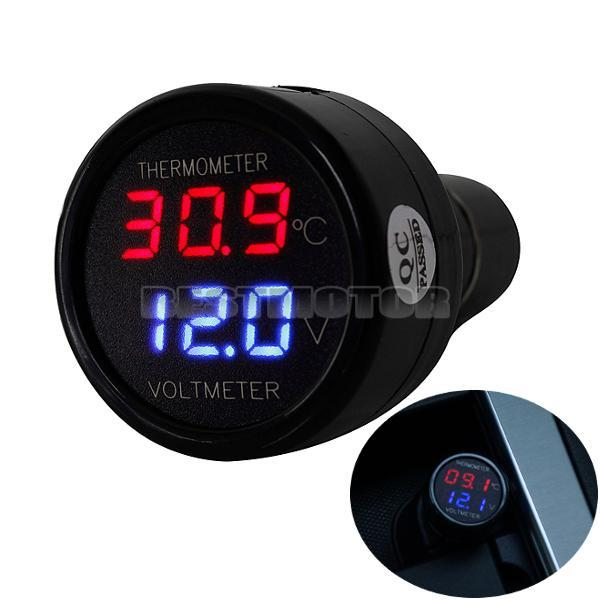 2 In 1 Car Auto 12V Dual Display LED Digital Thermometer Voltmeter Ci