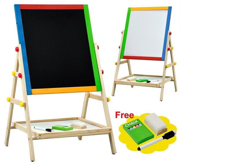 2 in 1 Easel Wooden White and Black Board Series 75 for Kid