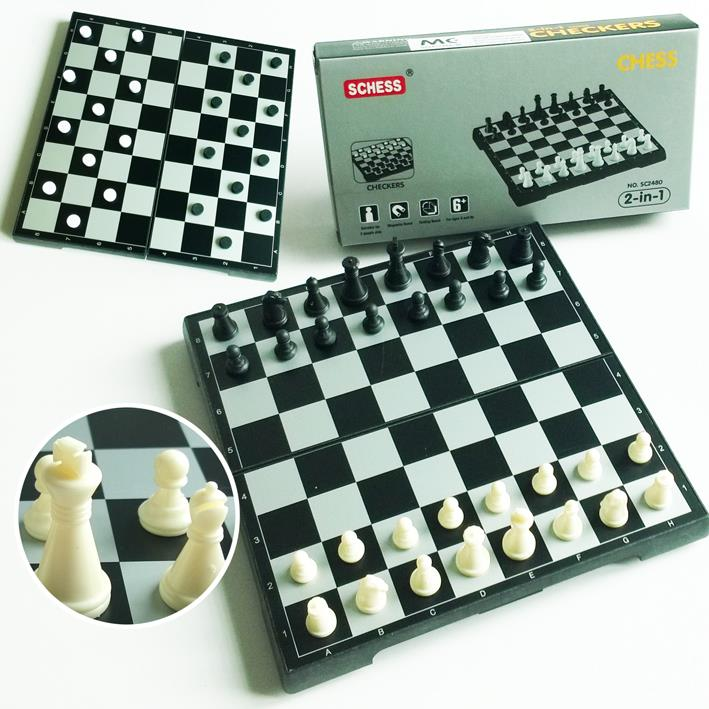 2 in 1 Folding Magnetic Portable Chess and Checkers Board Games Set