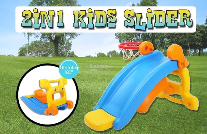 2 IN 1 KIDS SLIDER WITH BASKETBALL NET