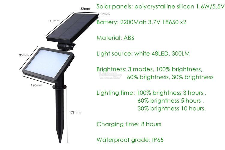 2-in-1 outdoor lighting solar wall lamp LED lawn lamp 3 modes 48 LED
