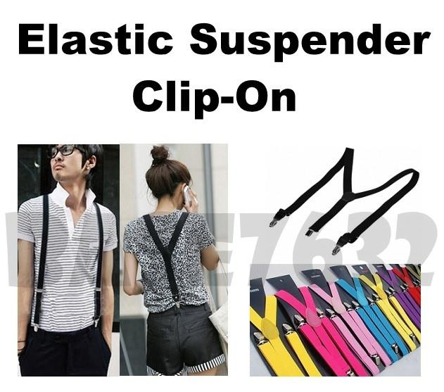 2.5cm Unisex Adjustable Pant Pants Elastic Suspender Clip-On Clip