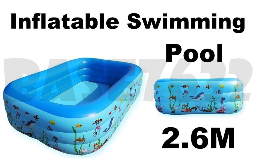 2.6m  Baby Kids Children Large Inflatable Long Swimming Pool Family