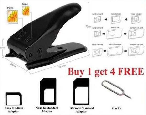 2 in1 Nano & Micro Dual Double Phone Sim Card Cutter 3 Adapters + Gift