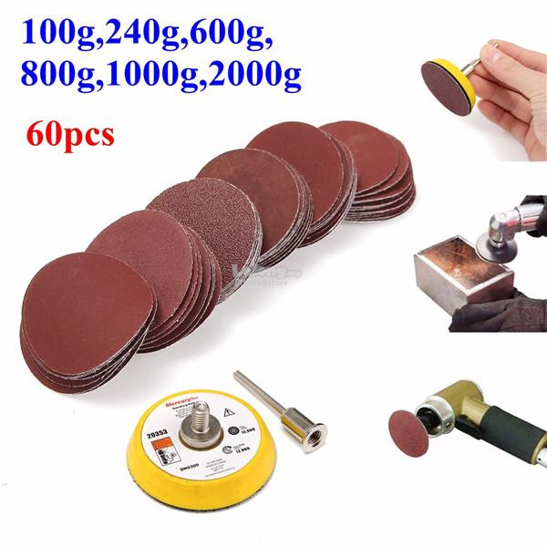 2 Inch 50mm Hook and Loop Sanding Pad 1/4 Inch Shank with 60pcs 100 to