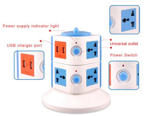 2 Layer Vertivcal Socket with 2 USB Port (Random Colour)