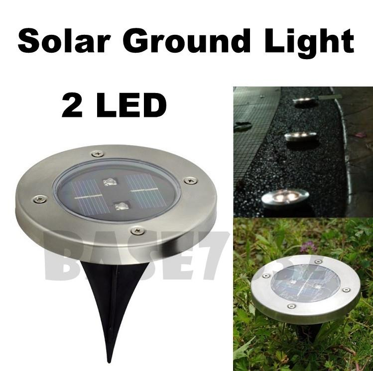 2 LED Round Solar Garden Ground Light Moonlight Warm White Pathway