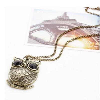 2 Pcs Black Big Eye Bronze Owl Necklace Sweater Pendant Chain