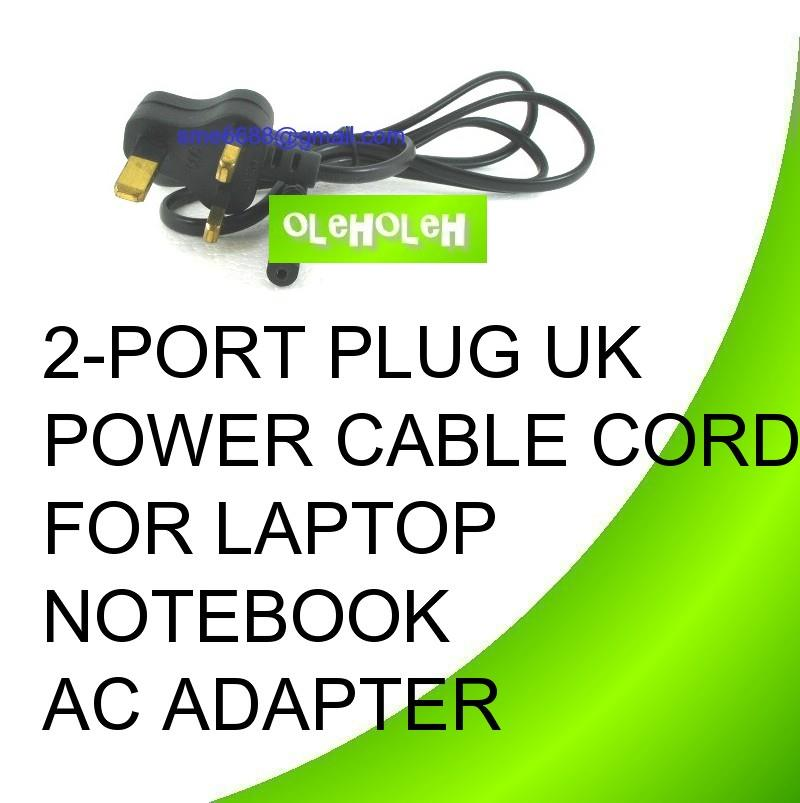 2-Port Plug UK Power Cable Cord for Laptop Notebook AC Adapter