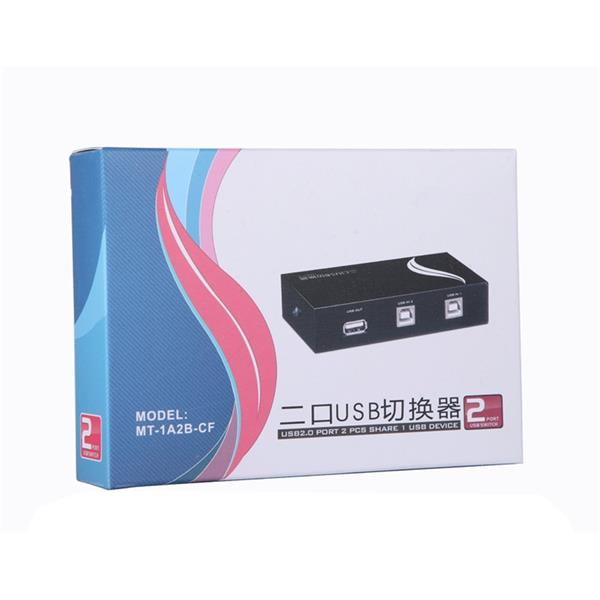 2 Port Push Button USB 2.0 Printer Sharing Switch Plug and Play