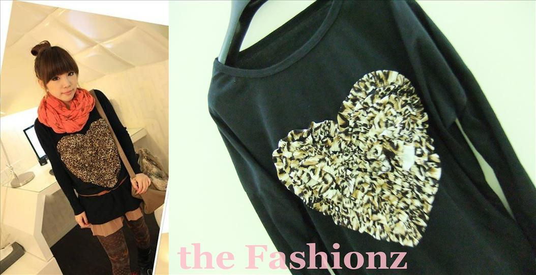 2 for RM30 SALE ! 3D LEOPARD HEART SHAPE TOP-BLACK