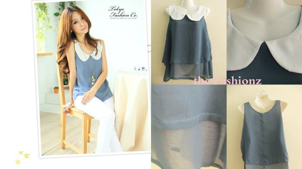 2 for RM30 SALE ! DOUBLE LAYER SLEEVELESS CHIFFON TOP- LIGHT BLUE