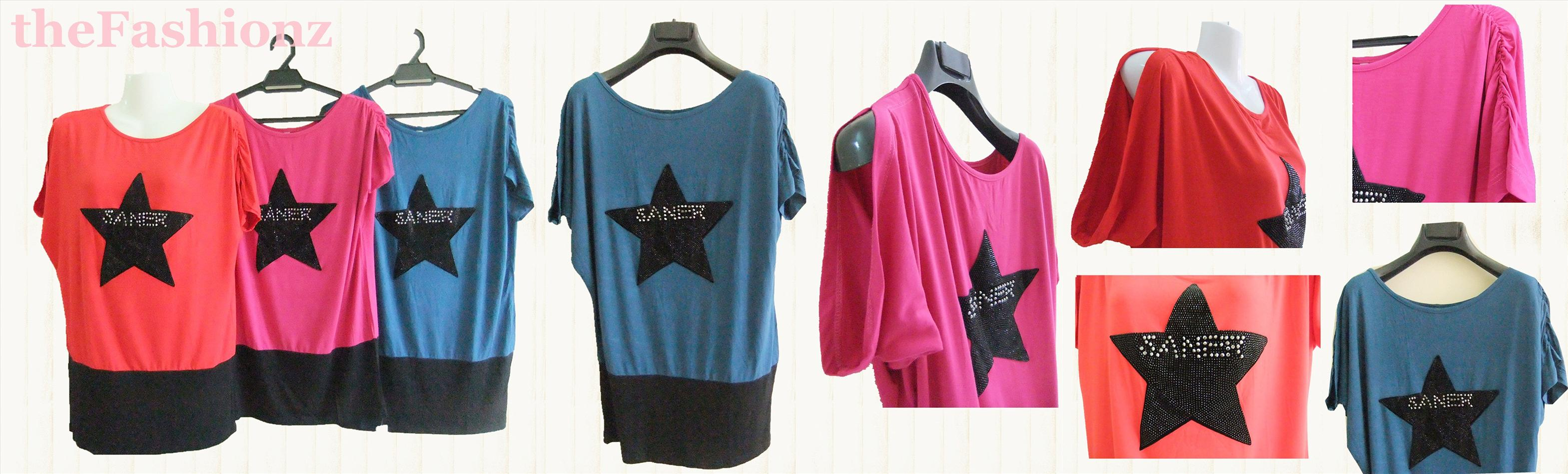 2 for RM30 SALE ! SPANGLE STAR TOP-BLUE