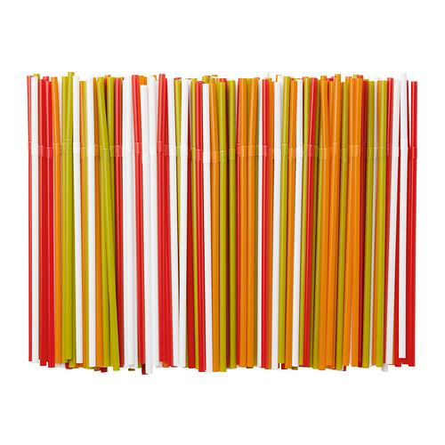 2 set IKEA Soda Drinking Straw (White Green Red Orange, 200pcs/set)