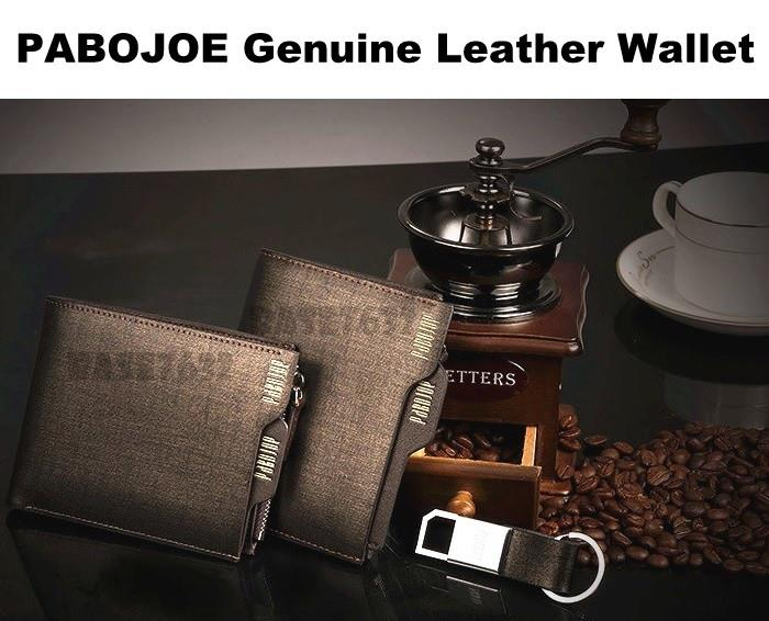 2 Types  PABOJOE Genuine Cowhide Leather Men Wallet FREE Keychain