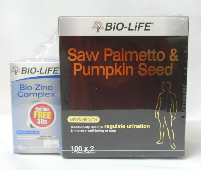 2 X 100's Bio-Life Saw Palmetto & Pumpkin Seed; Limited stock only!
