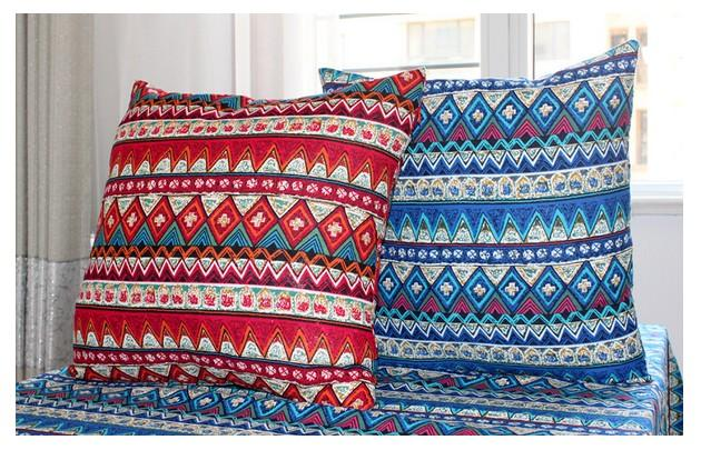 2 x Ethnic Style Cushion Covers (1 blue, 1 red)
