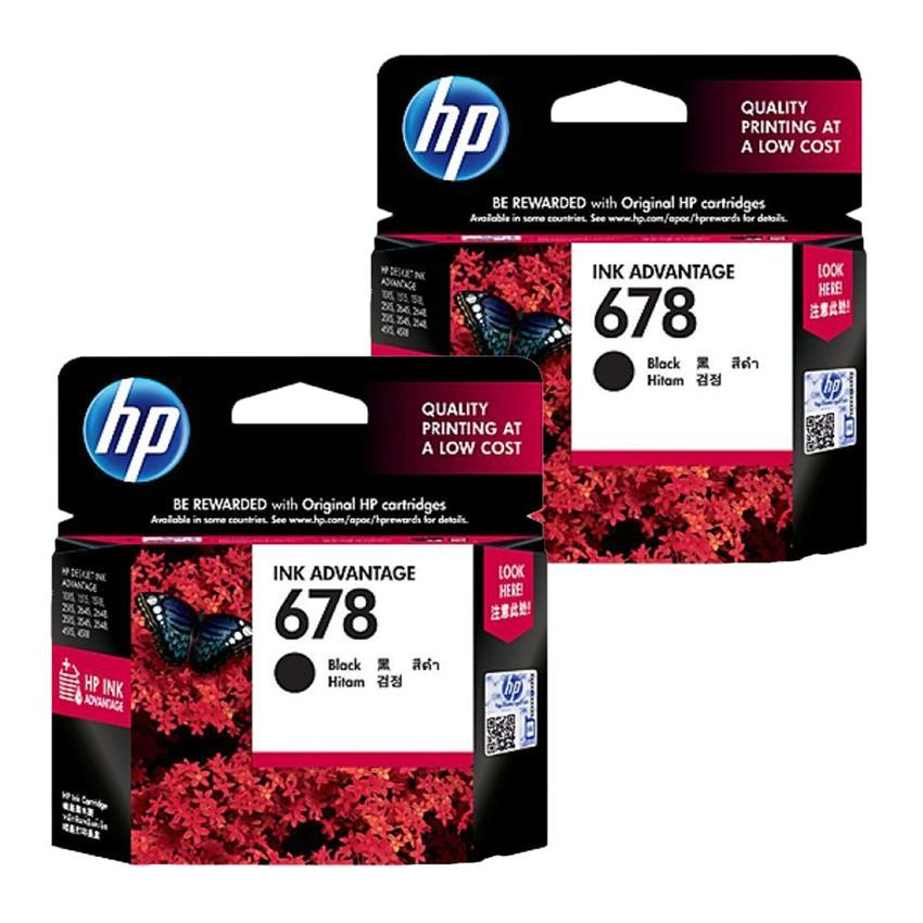 2 x HP 678 Black Original Ink Advantage Cartridge (CZ107AA)