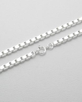 20' Box (Venetian) Chain in 925 Sterling Silver - 3.5 mm