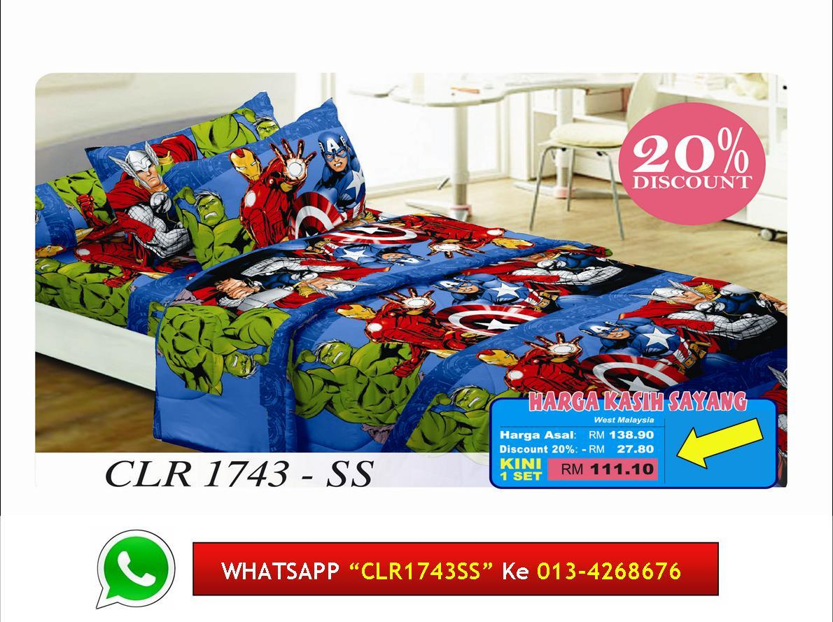 '20% Diskaun Clear Stok' Cadar Single+Comforter THE AVENGERS Hulk,Thor