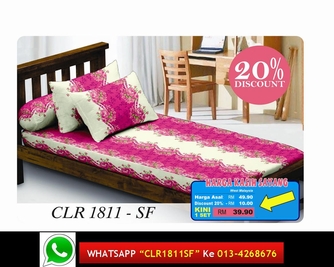 '20%Diskaun Clear Stok' Set Cadar Single Fitted kod 1811SF Bedsheet