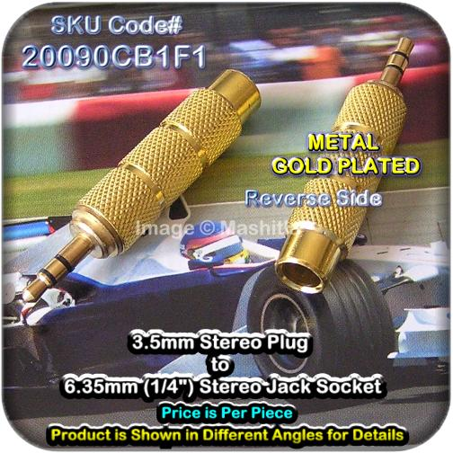 "[20090C] 3.5mm Stereo Plug to 6.35mm (1/4"") Stereo Jack Socket Gold Pl"