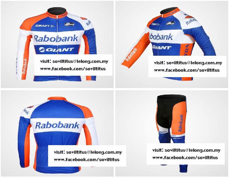 2012 RABOBANK GIANT Bicycle Long Sleeve Cycling Jersey + Pants Bike M...