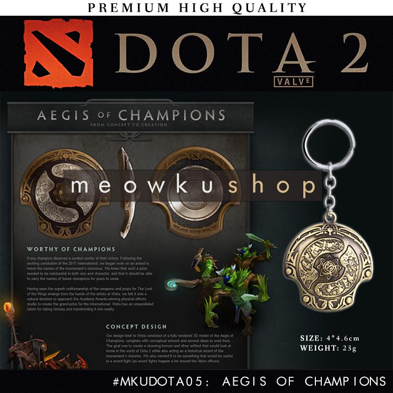 2017 New DOTA 2 Aegis Of Champions Immortal Shield 11cm Metal Keychain