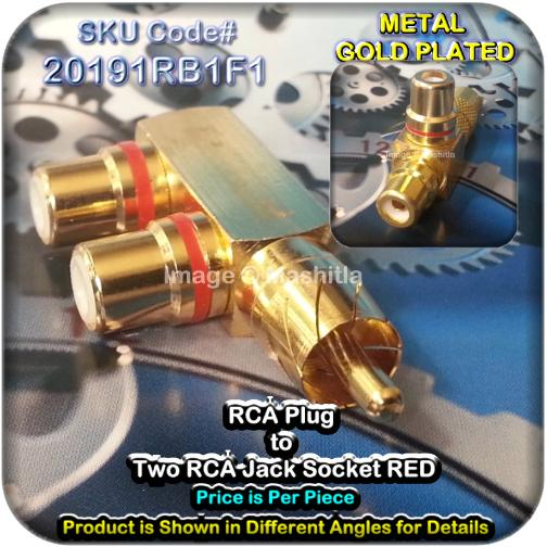 [20191R] RCA Plug to Two RCA Jack Socket RED Gold Metal Plated Convert