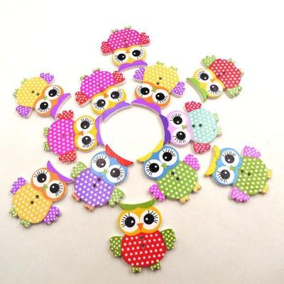 20Pcs DIY Cute Mixed Color Owl Wooden Button 2 Holes for Sewing