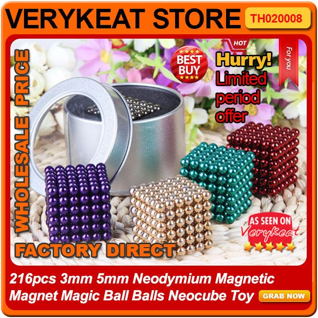 216pcs 3mm 5mm Neodymium Magnetic Magnet Magic Ball Balls Neocube Toy