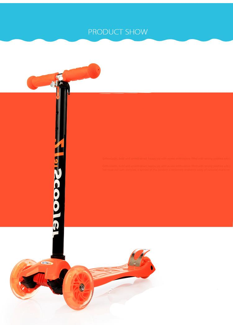 21st Scooter Height Adjustable with LED Light up Wheels - ORANGE