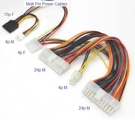 24pin Motherboard to 24p IDE 4p CPU P4 SATA 15p Multi Power Cable