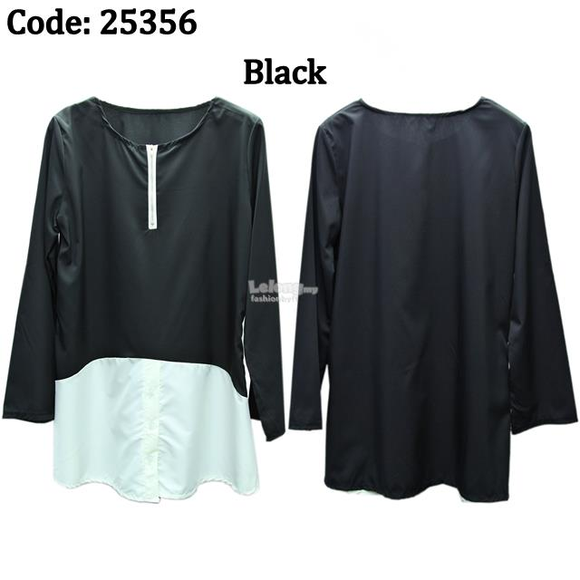 25356 Long Sleeve Chiffon Blend Muslimah Blouse with Zipper