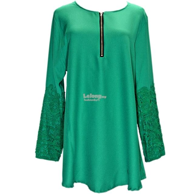 25917 Embroidered Long Sleeve Muslimah Blouse with Front Zipper
