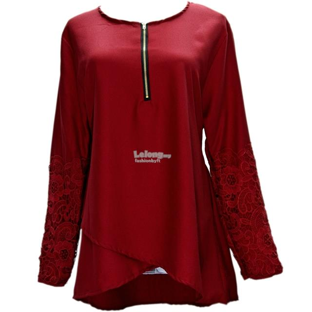 25937 Embroidered Sleeve Muslimah Blouse with Layered Cross-Over Hem