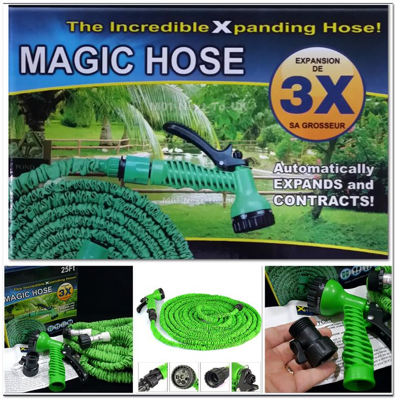 25FT  Magic XHose Home Garden Expandable Pocket Water Hose +Sprayer