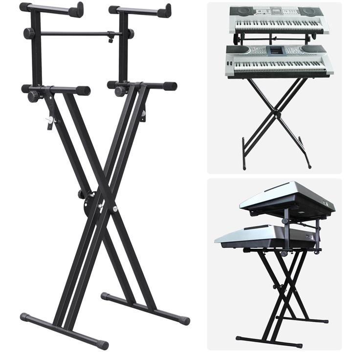 2nd Dual Tier Adjustable Metal Keyboard Piano X Stand Adapter Fordable