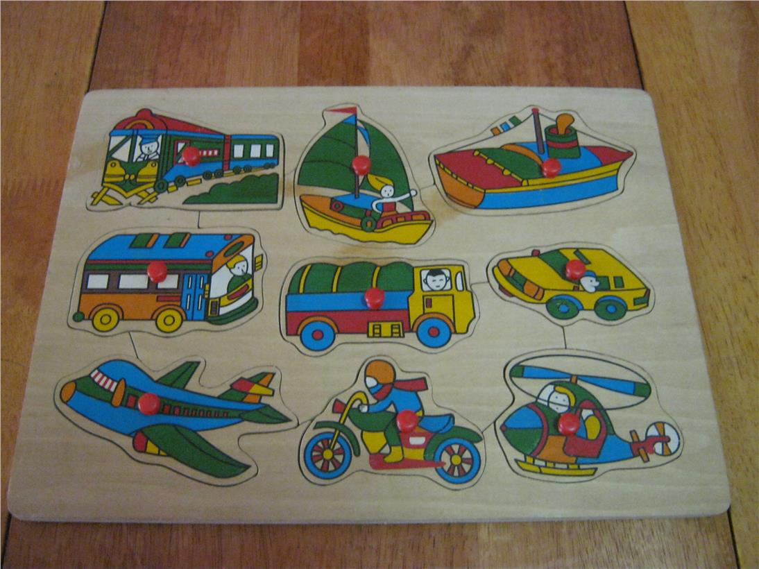 2nd hand Wooden Educational Knob Puzzle – Vehicles