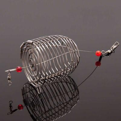 2pc Stainless Steel Small Fishing Bait Cage Trap Basket Feeder Holder