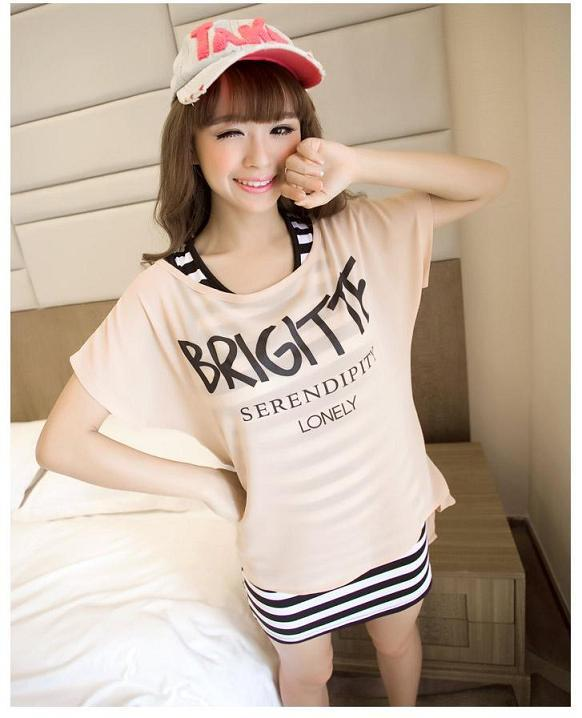 2pcs Slim Striped Long Dress With Letter Print Tee
