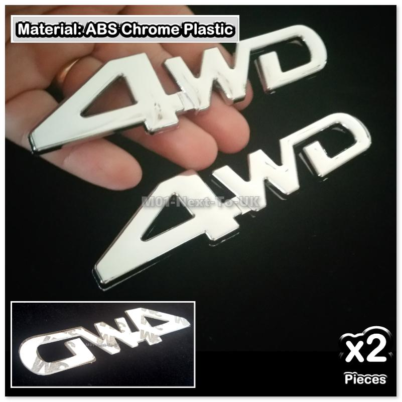 2x 4WD 4x4 Full Chrome 3D Car Trunk Badge Side Auto Emblem Logo Fender