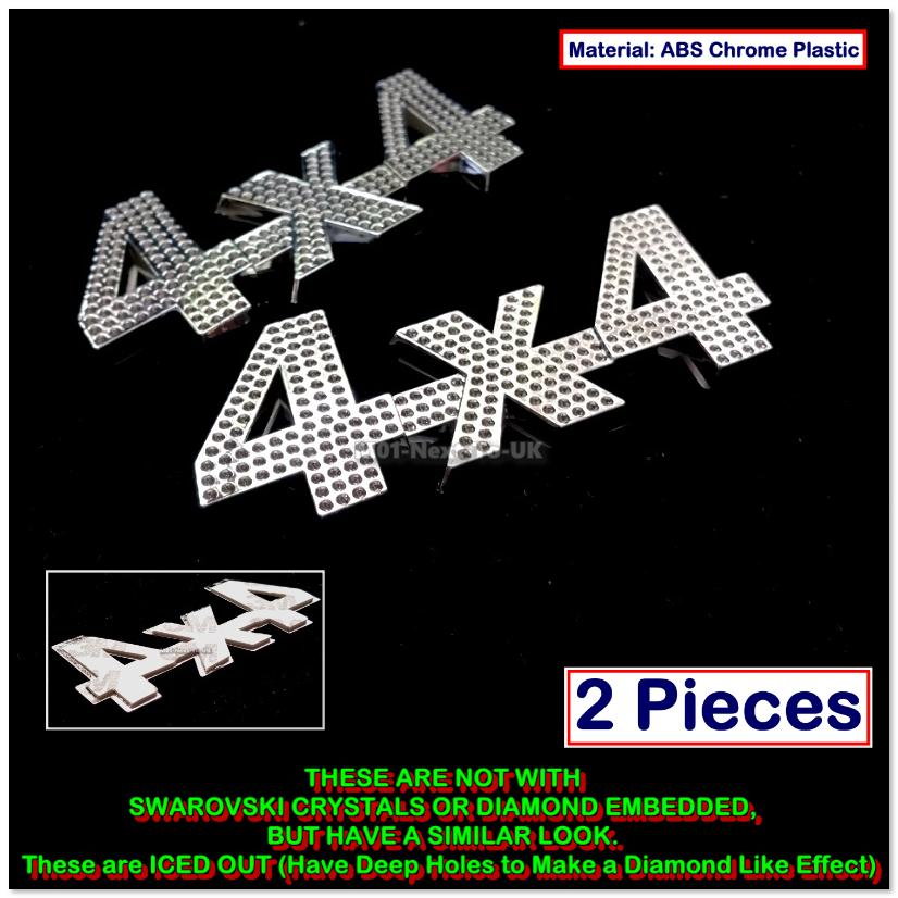 2x 4x4 ICED OUT Style 3D Chrome Car Badge Sticker Decal Emblem Trunk S