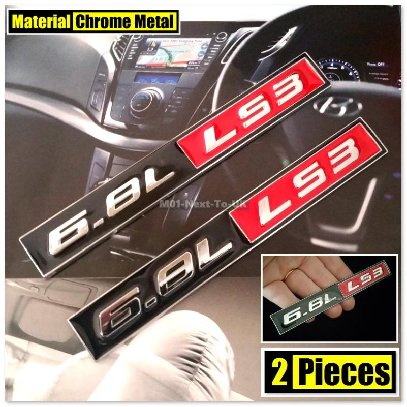 2x 6.8L LS3 HQ 3D Chrome Metal Car Trunk Badge Auto Fender Side Emblem