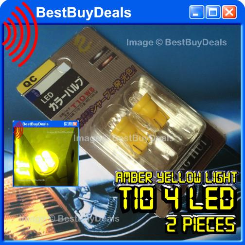 2x AMBER YELLOW T10 4 LED W5W 501 158 168 194 280 Wedge Lamp Light