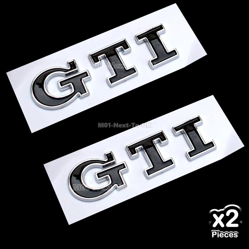 2x GTI Black 3D Chrome Car Badge Decal Emblem Trunk Side Logo Auto Rep