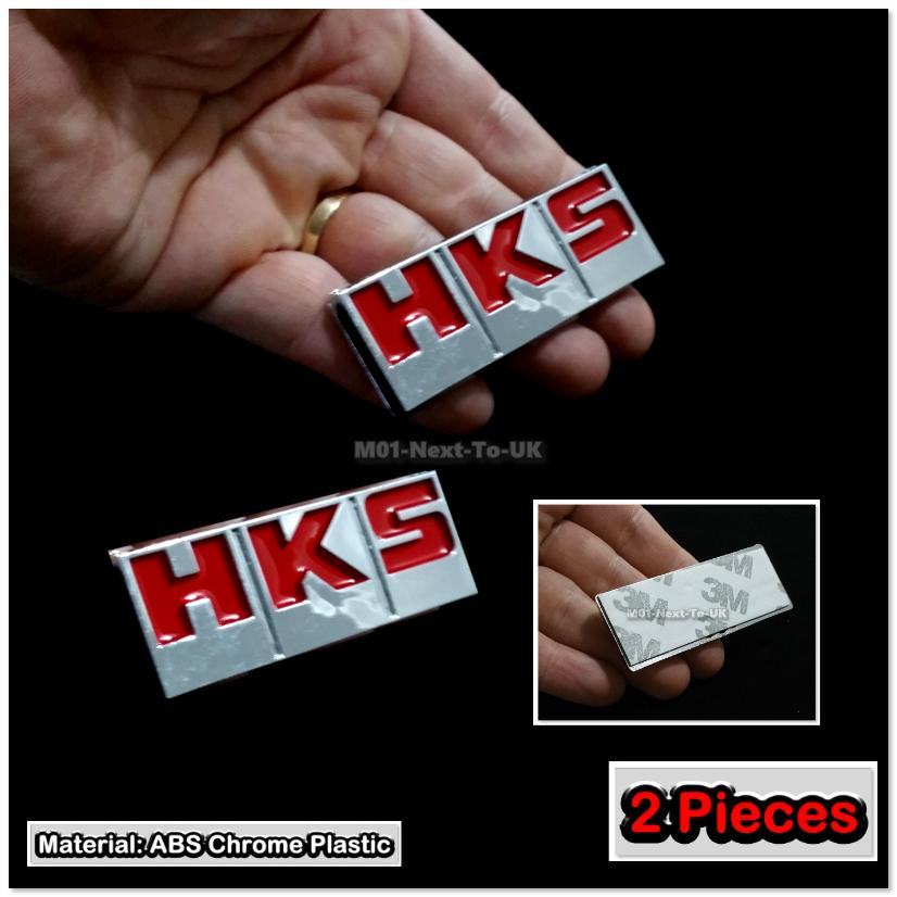 2x HKS RED Auto Adhesive 3D Chrome Badge Decal Emblem Trunk Side Logo