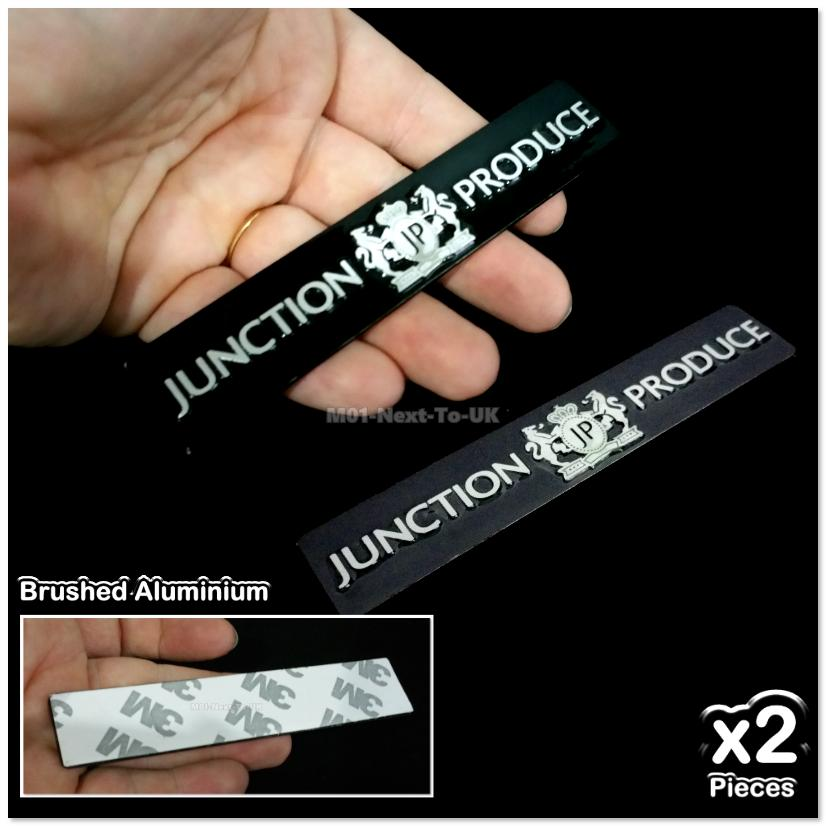 2x JP Junction Produce Aluminium Metal 3D Chrome Car Badge Emblem Logo