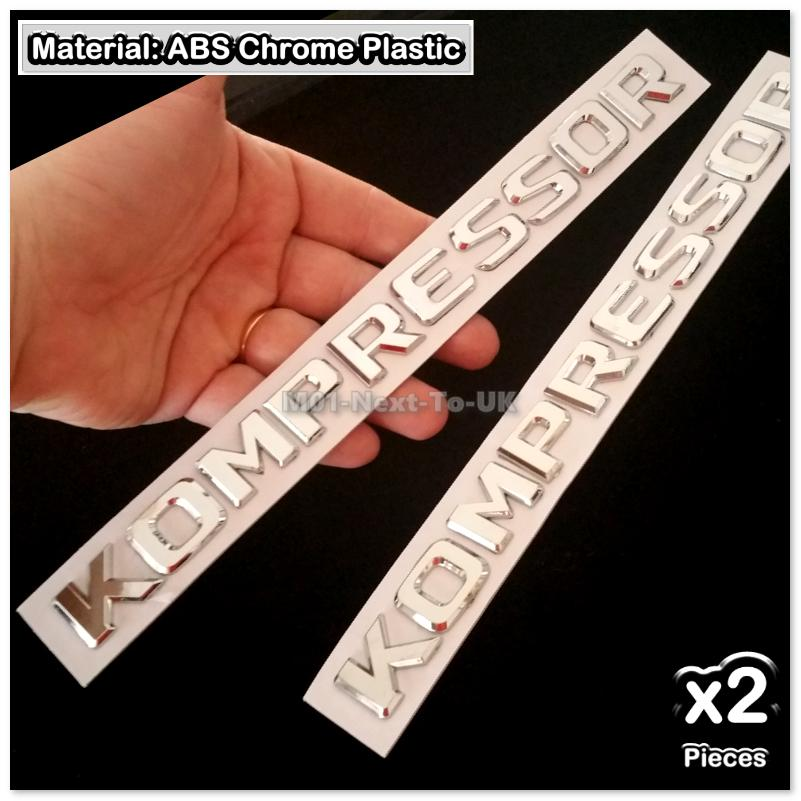 2x KOMPRESSOR Mercedes Benz  Chrome 3D Car Trunk Badge Side Auto Emble