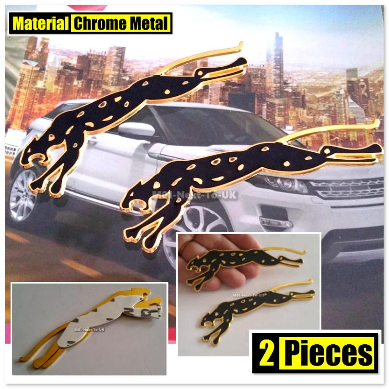 2x Leopard Jaguar GOLD 12cm HQ 3D Metal Car Trunk Badge Side Auto Embl